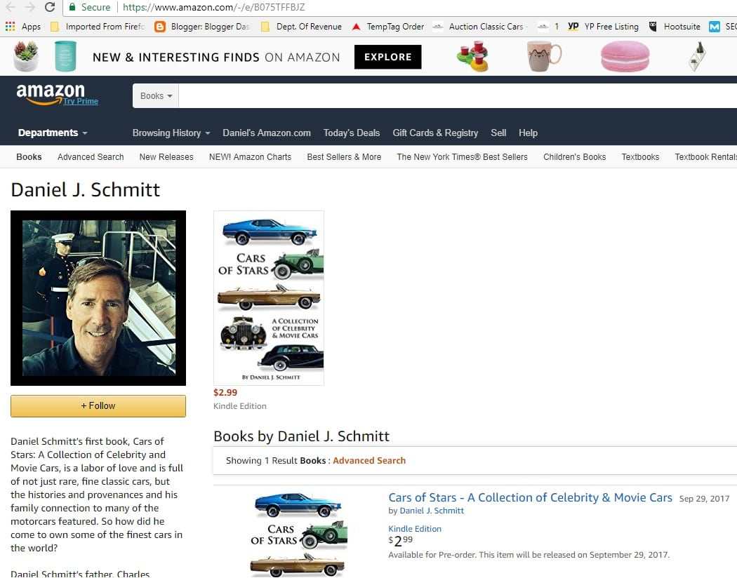 Daniel Schmitt Author Amazon page, cars of stars, celebrity cars ebook. movie cars, classic cars daniel schmitt and co