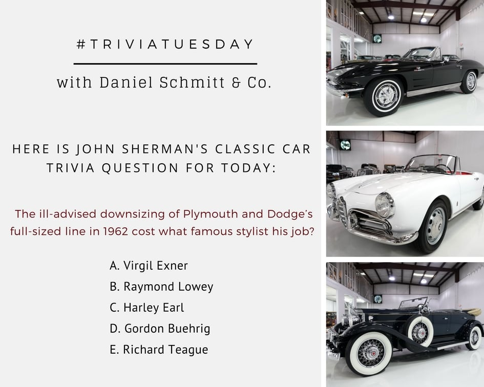 daniel schmitt and co classic car gallery, trivia questions, john sherman classic car questions, trivia tuesday, classic cars for sale, vintage auto questions, retro automobiles