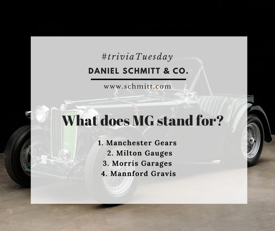 Daniel Schmitt & Co trivia questions, classic car quiz, classic cars trivia, daniel schmitt classic cars st louis, classic mg cars