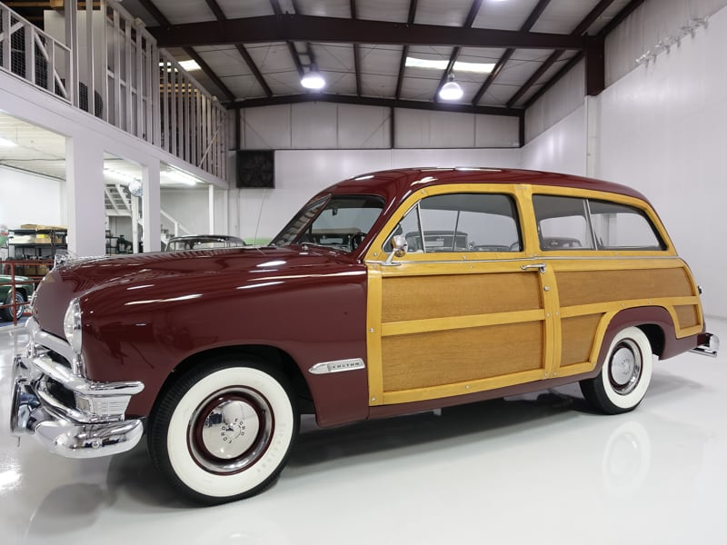 1950 Ford Custom Deluxe Woody Wagon for sale Daniel Schmitt & co. classic car gallery, classic woody for sale, ford woody st.louis
