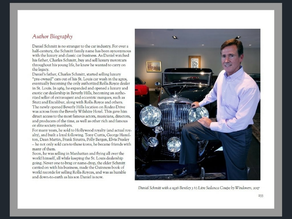 Daniel Schmitt with a 1936 Bentley Sedanca in St. Louis, at his classic car gallery