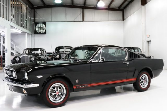 The magnificent 1966 Ford Mustang GT K-Code Fastback featured here is finished in rare and highly desirable Raven Black over black deluxe pony interior and has been fitted with nearly every available option, including the GT package, Rally-Pac gauges, deluxe pony interior, and much more.  #mustang #musclecars #1of1 #fastback