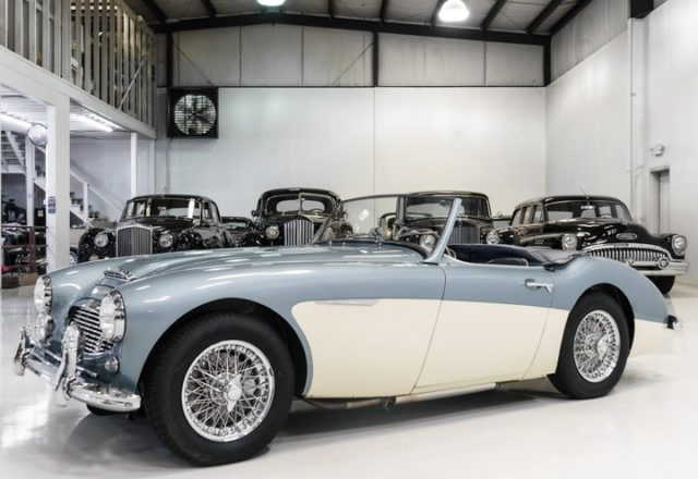 The magnificent 1957 Austin Healey 100-6 BN4 Roadster featured here is finished in classic and desired Healey Blue over white with gorgeous blue leather interior. This motorcar was recently restored with no expense spared, and special attention was paid to drivability. #austinhealey #roadster #classiccars #britishcars
